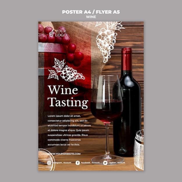 Design de folheto de degustação de vinhos Psd grátis