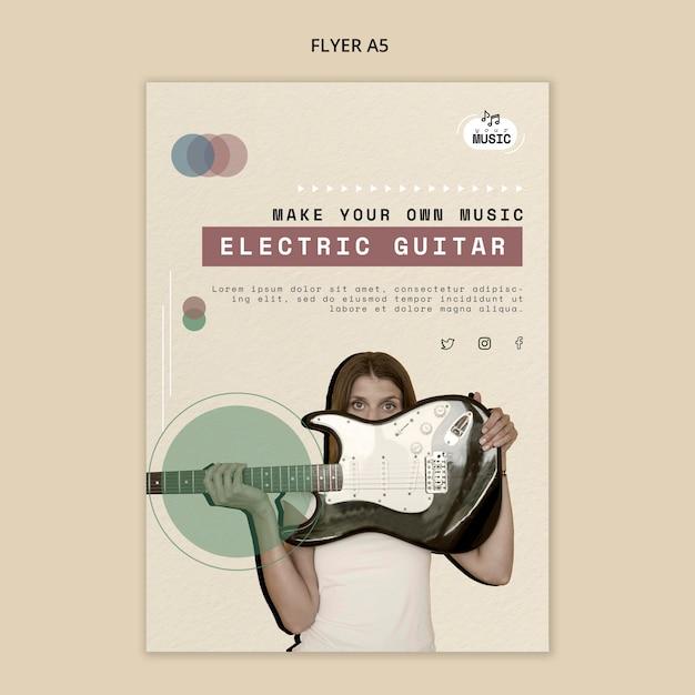 Design de folheto de lições de guitarra elétrica Psd grátis