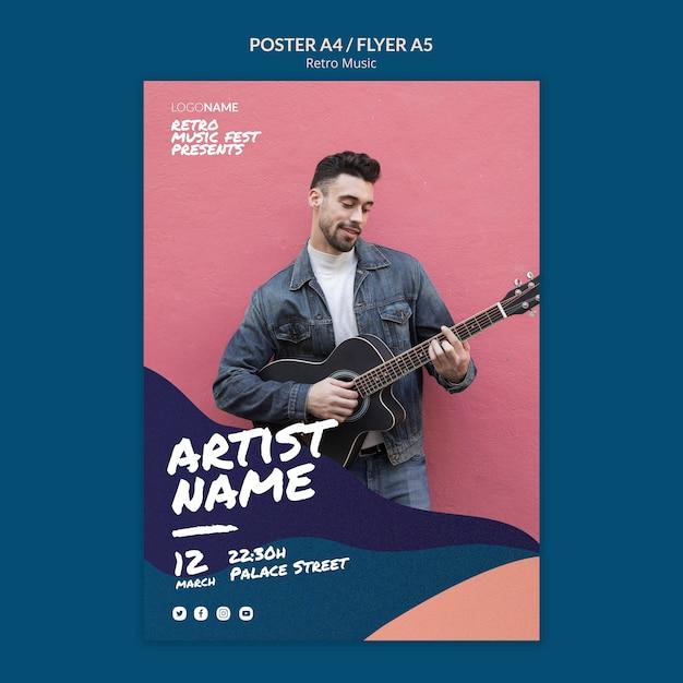 Design de folheto de música retrô Psd grátis