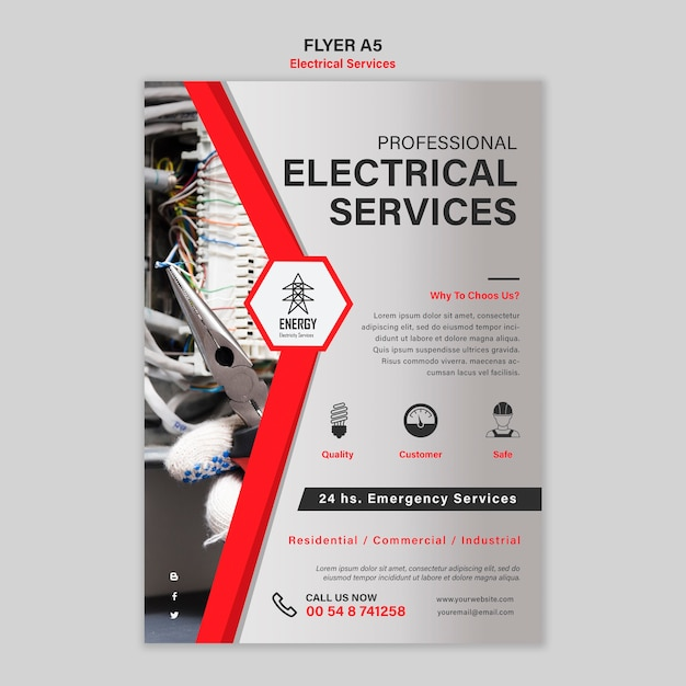 Design de folheto de serviços especializados em eletricidade Psd grátis