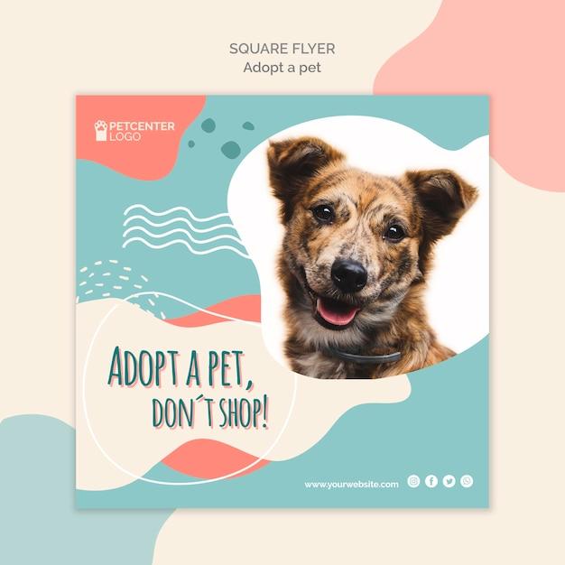 Design de folheto quadrado de adoção de animais Psd grátis