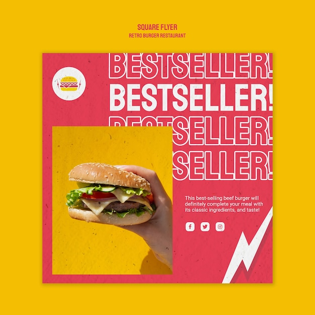 Design de folheto quadrado retrô restaurante hambúrguer Psd grátis