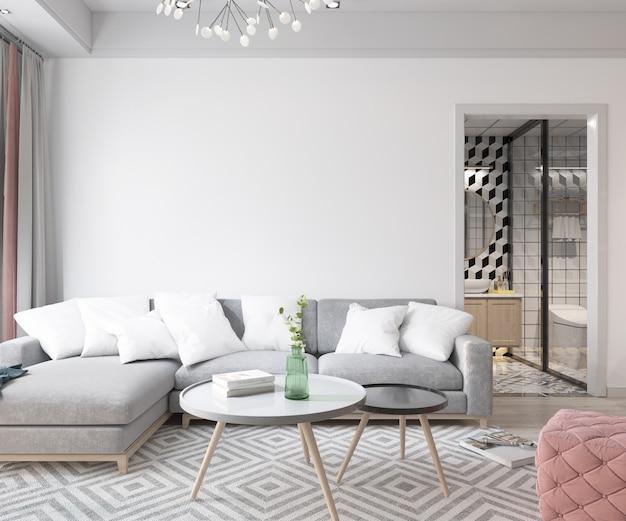 Design de interiores moderno da sala de estar Psd grátis