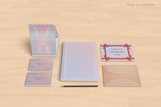 Design de maquete de cartão e calendário Psd Premium