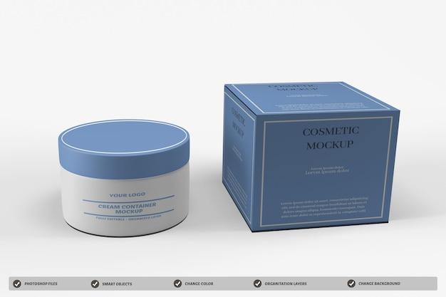 Design de maquete de embalagem de recipiente de creme cosmético Psd Premium