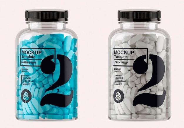 Design de maquete de frasco de pílulas transparente isolado Psd Premium