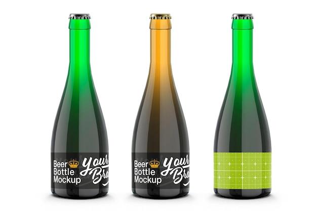 Design de maquete de garrafa de cerveja de vidro colorido em renderização 3d Psd Premium