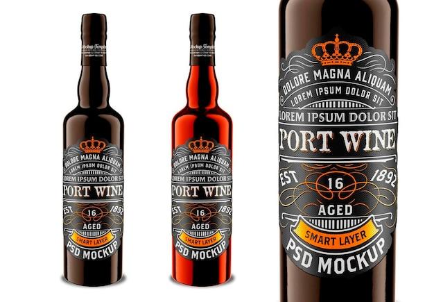 Design de maquete de garrafa de licor escuro Psd Premium