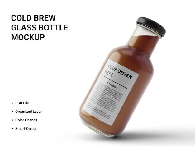 Design de maquete de garrafa de vidro cold brew Psd Premium
