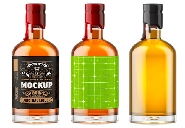 Design de maquete de garrafa de vidro de uísque isolado Psd Premium