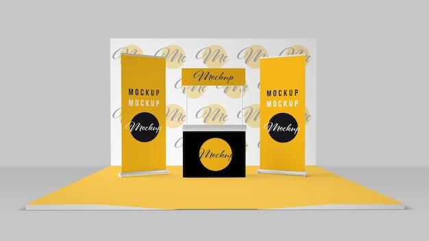 Design de maquete de rolos, contador e photocall Psd Premium
