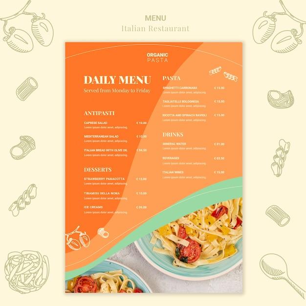 Design de menu de restaurante italiano Psd grátis