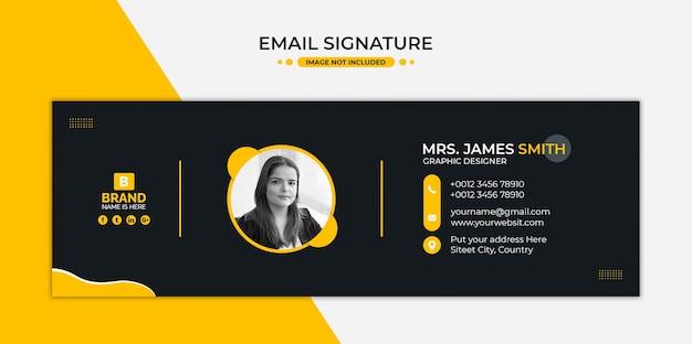 Design de modelo de assinatura de email ou rodapé de email e capa de mídia social pessoal Psd Premium