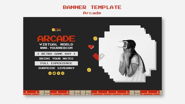 Design de modelo de banner arcade Psd grátis