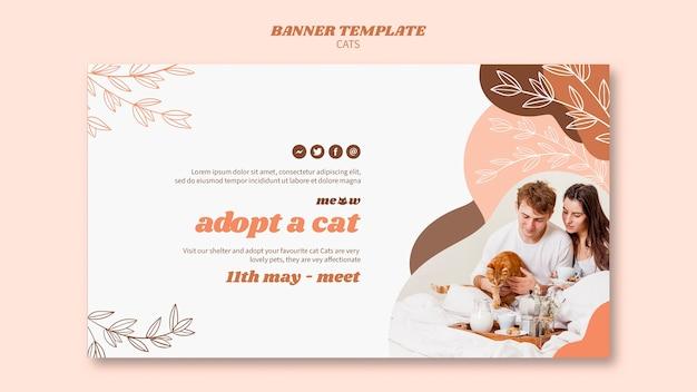 Design de modelo de banner de gatos Psd grátis
