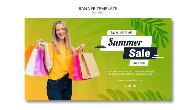 Design de modelo de banner de venda verão Psd grátis