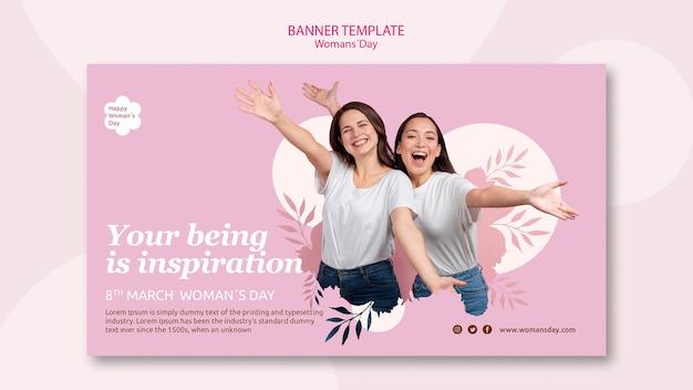 Design de modelo de banner do dia das mulheres Psd grátis