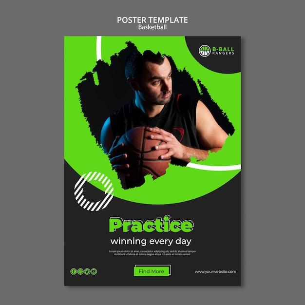 Design de modelo de cartaz de basquete Psd grátis