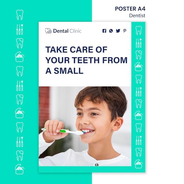Design de modelo de cartaz de conceito de dentista Psd grátis