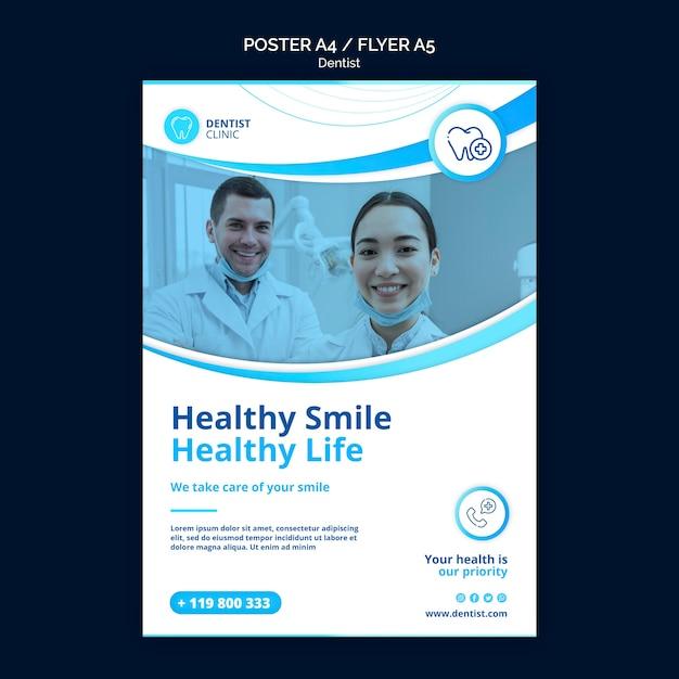Design de modelo de cartaz de dentista Psd grátis