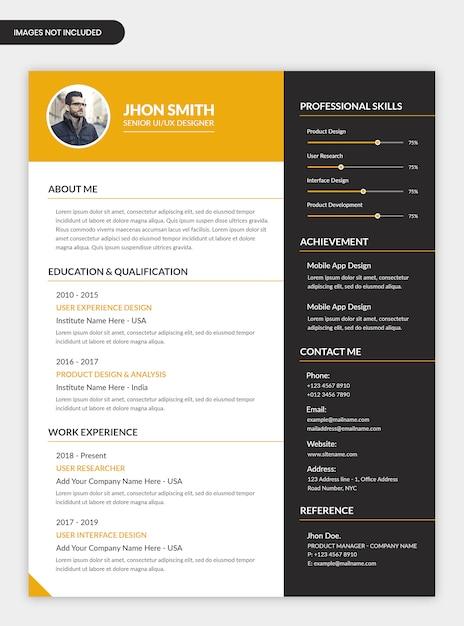 Design de modelo de currículo pessoal mínimo Psd Premium