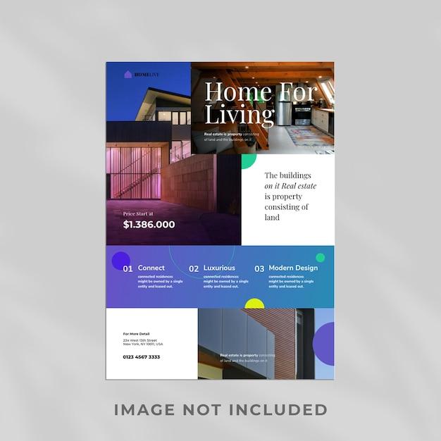 Design de modelo de design de folheto de imóveis Psd Premium