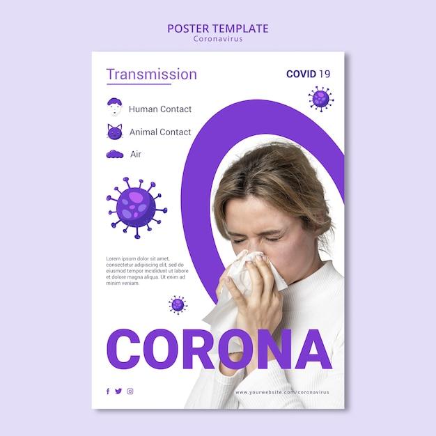 Design de modelo de folheto - coronavírus Psd grátis