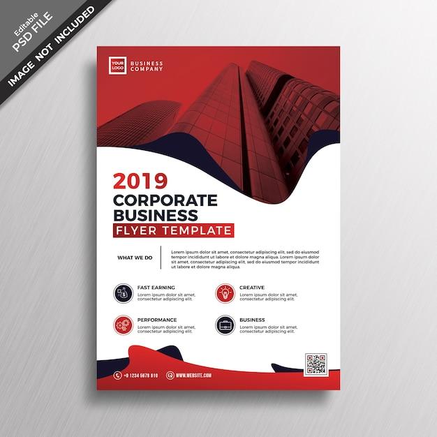 Design de modelo de folheto corporativo de estilo abstrato vermelho Psd Premium