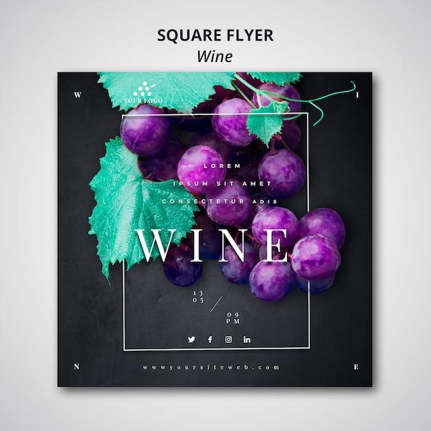 Design de modelo de folheto quadrado vinho Psd grátis
