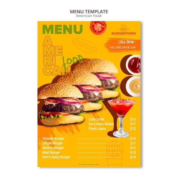 Design de modelo de menu de comida americana Psd grátis