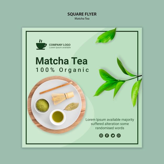 Design de modelo de panfleto de chá matcha Psd grátis