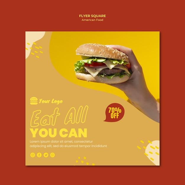 Design de modelo de panfleto de comida americana Psd grátis