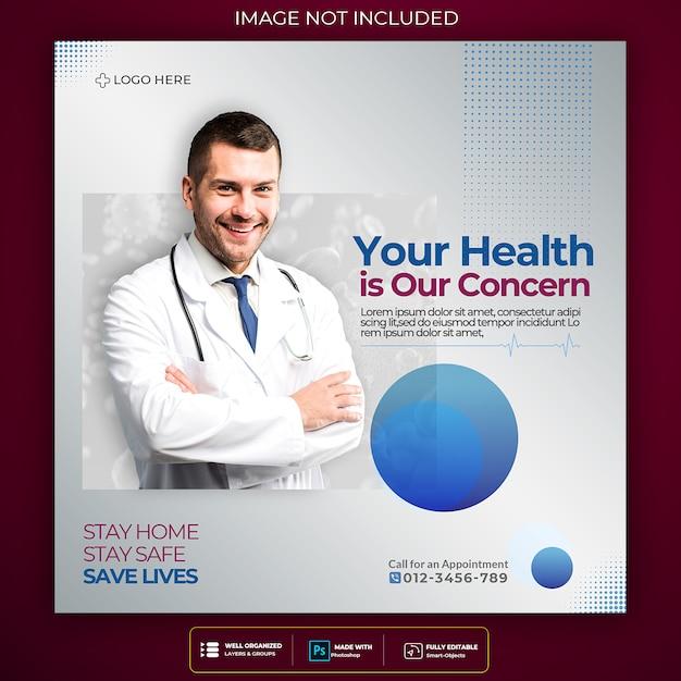 Design de modelo quadrado de mídia social de coronavírus Psd Premium