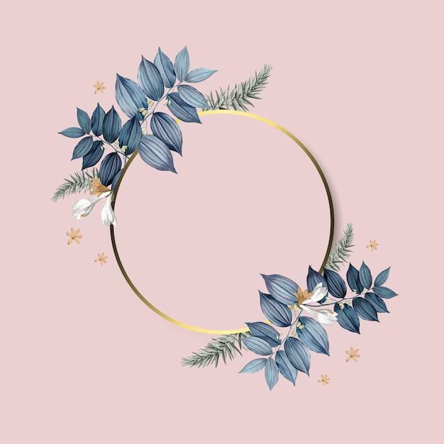 Design de moldura dourada floral vazia Psd grátis