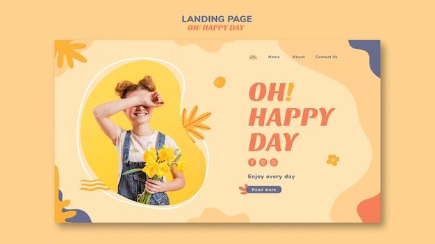 Design de página de destino do conceito feliz dia Psd grátis