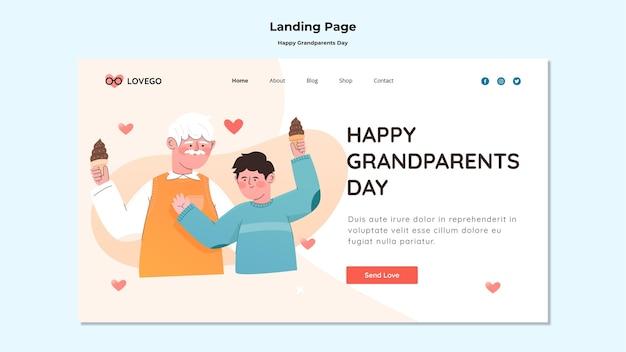 Design de página de destino feliz dia dos avós Psd grátis