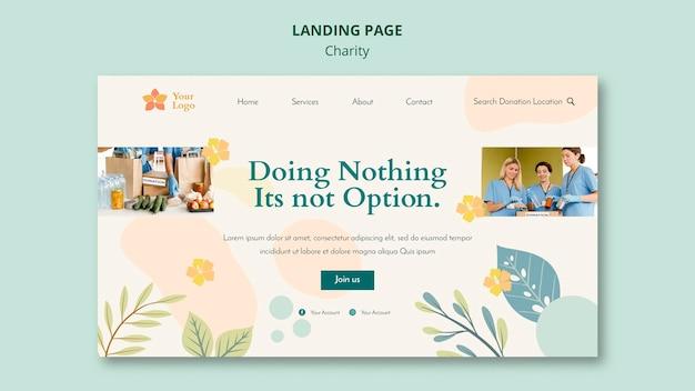 Design de página de destino para caridade Psd grátis