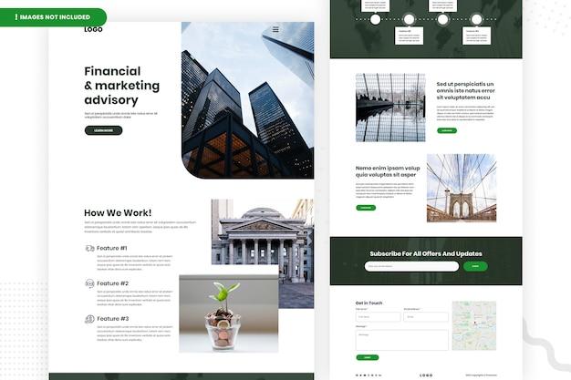 Design de página de site de consultoria financeira e de marketing Psd Premium