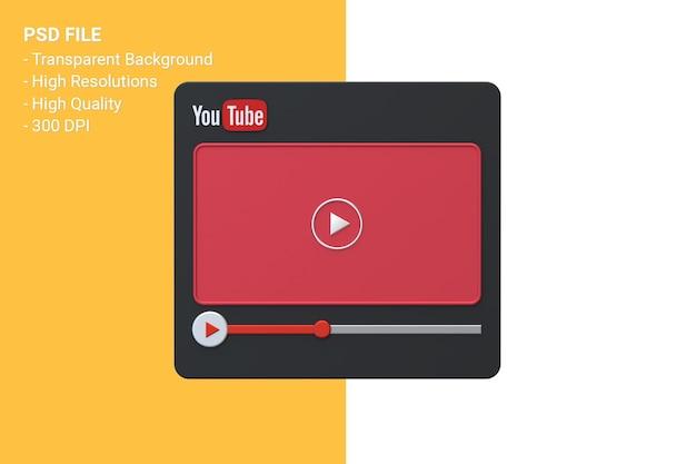 Design de tela 3d do player de vídeo do youtube ou interface do player de mídia de vídeo Psd Premium