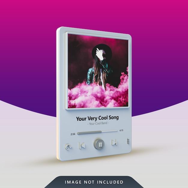 Design do player de música 3d para postagem nas redes sociais Psd Premium