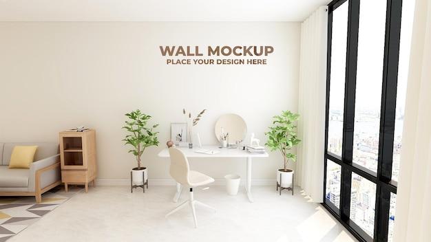Design moderno de maquete de parede para sala de maquiagem Psd Premium