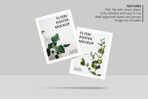 Design realista de papel flutuante ou modelo de folheto panfleto Psd Premium