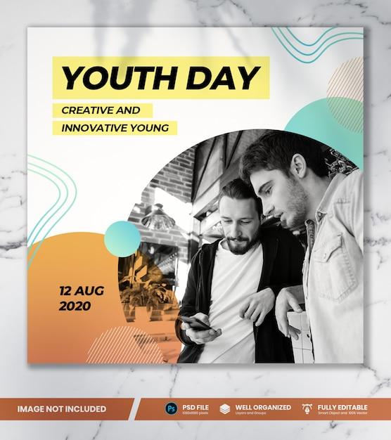 Dia da juventude banner modelo Psd Premium