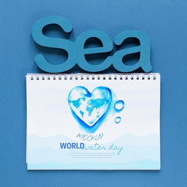 Dia do oceano salvar o modelo do mundo subaquático Psd grátis