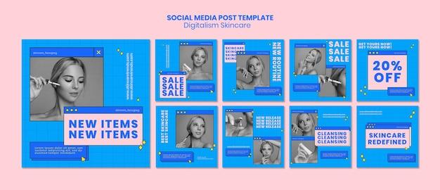 Digitalism skincare post de mídia social Psd grátis