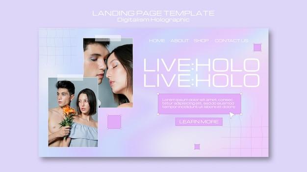 Digitalismo holográfico com página de destino de casal Psd grátis