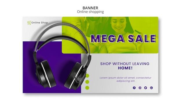 Dispositivos de modelo de banner horizontal loja online mega venda Psd grátis