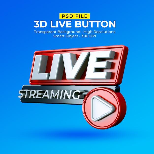 Distintivo de transmissão ao vivo 3d isolado Psd Premium