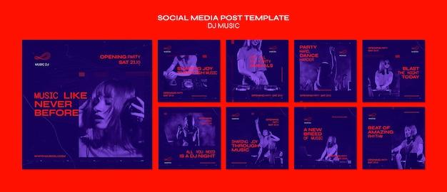 Dj definir modelo de postagem de mídia social ao vivo Psd Premium