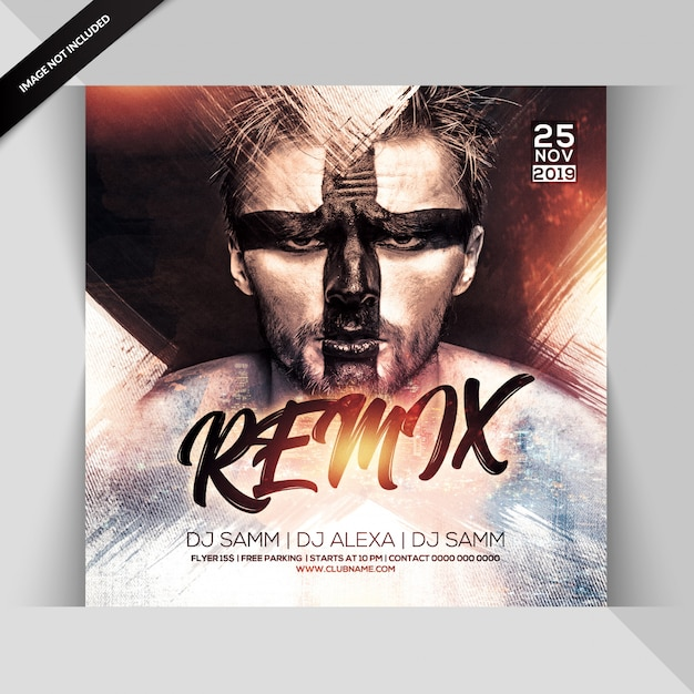 Dj remix party flyer Psd Premium